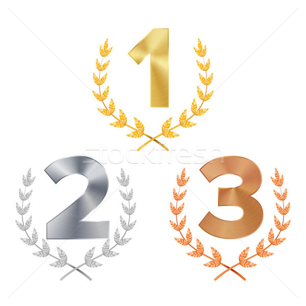 Trophy Award Set Vector. Award. Figures 1, 2, 3 One, Two, Three In A Realistic Gold Silver Bronze La Stock photo © pikepicture