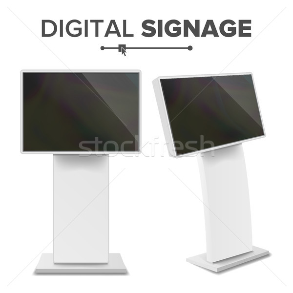 Digital Terminal With Touch Screen Vector. Interactive Digital Informational Kiosk. Digital kiosk LE Stock photo © pikepicture