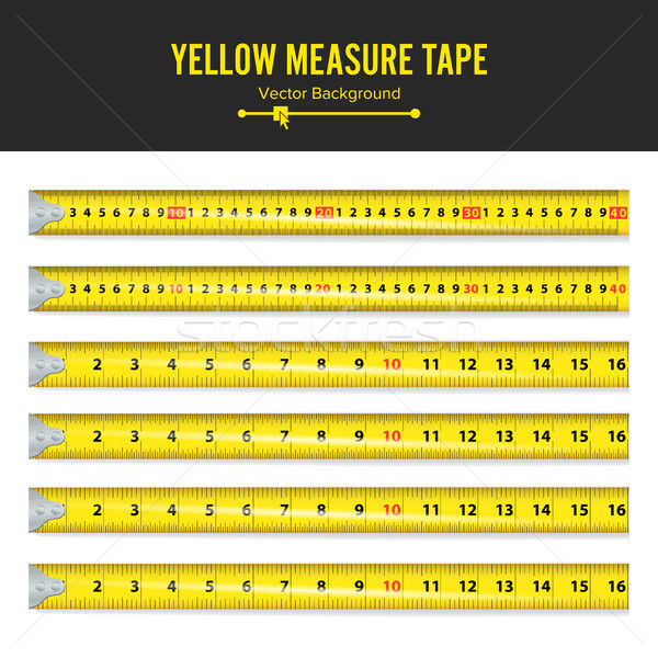 Yellow Measure Tape Vector. Measure Tool Equipment In Inches. Several Variants, Proportional Scaled. Stock photo © pikepicture