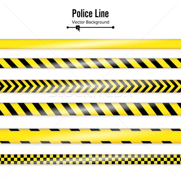 Yellow With Black Police Line. Danger Security Quarantine Tapes. Isolated On White Background. Vecto Stock photo © pikepicture