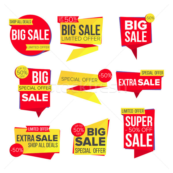 Sale Banner Set Vector. Website Stickers, Color Web Page Design. Up To 50 Percent Off Badges. Isolat Stock photo © pikepicture