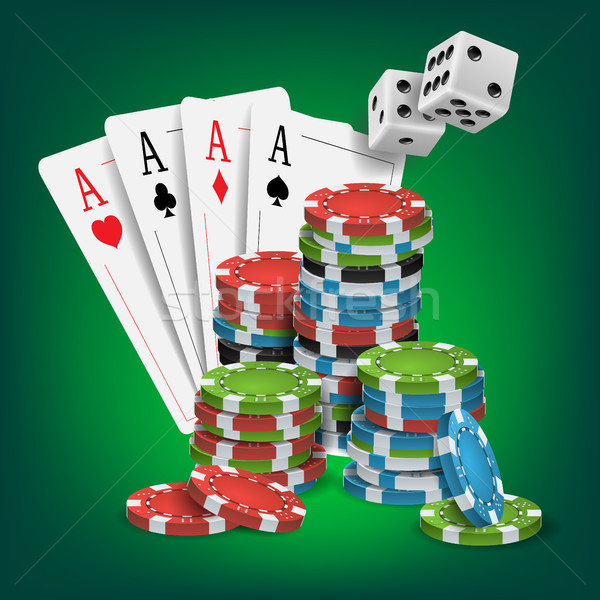 Casino Poker Design Vector. Poker Cards, Chips, Playing Gambling Cards. Lucky Night VIP Winner Conce Stock photo © pikepicture
