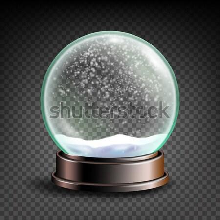 Stockfoto: Kerstmis · lege · sneeuw · wereldbol · vector · winter