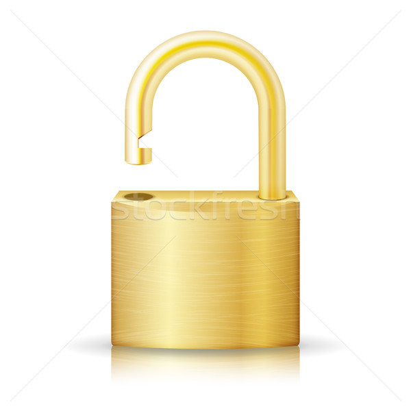 Unlocked Lock Security Yellow Icon Isolated On White. Gold Realistic Protection Privacy Sign Stock photo © pikepicture