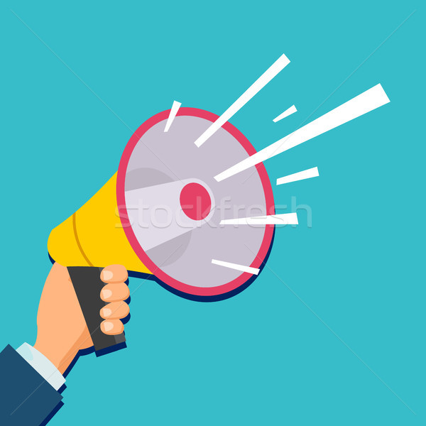 Hand Holding Megaphone Vector. Flat Illustration. Cartoon Human Hand Holding Megaphone. Business Soc Stock photo © pikepicture