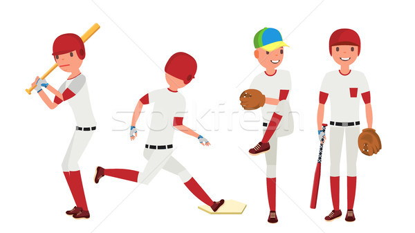 Baseball Player Vector. Sport Action On The Stadium. Powerful Hitter. Isolated Flat Cartoon Characte Stock photo © pikepicture