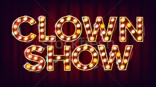 Clown montrent bannière signe vecteur traditionnel Photo stock © pikepicture