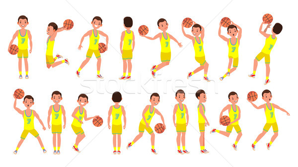 Basketball Male Player Vector. Yellow Uniform. Playing With A Ball. Healthy Lifestyle. Team Action S Stock photo © pikepicture