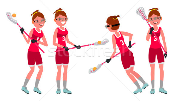 Lacrosse Female Player Vector. High School Or Colleges Girl. Team Members. Professional Athlete. Spo Stock photo © pikepicture
