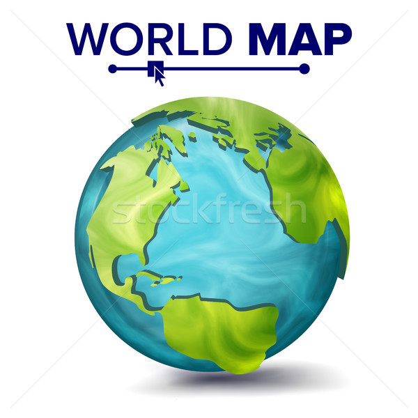 World Map Vector. 3d Planet Sphere. Earth With Continents. North America, South America, Africa, Eur Stock photo © pikepicture