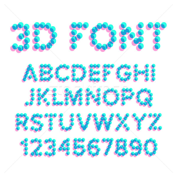3D Effect Pixel Stereo Font Vector. Distortion Numerals And Letters. Illustration Stock photo © pikepicture