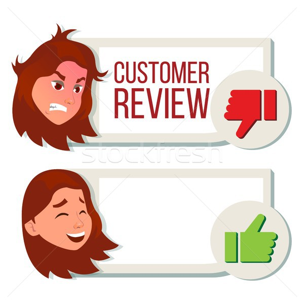 Customer Review Vector. Positive, Negative Review. Testimonials Messages. Client Rate And Text. Happ Stock photo © pikepicture