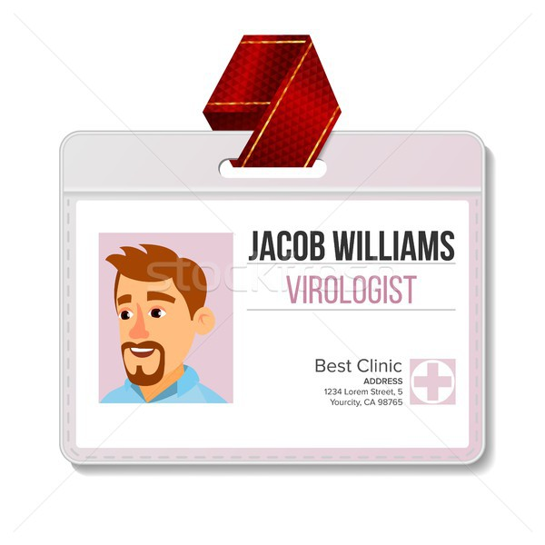 Virologist Identification Badge Vector. Man. Id Card Blank. Doctor. Hospital. Medical Person. Isolat Stock photo © pikepicture