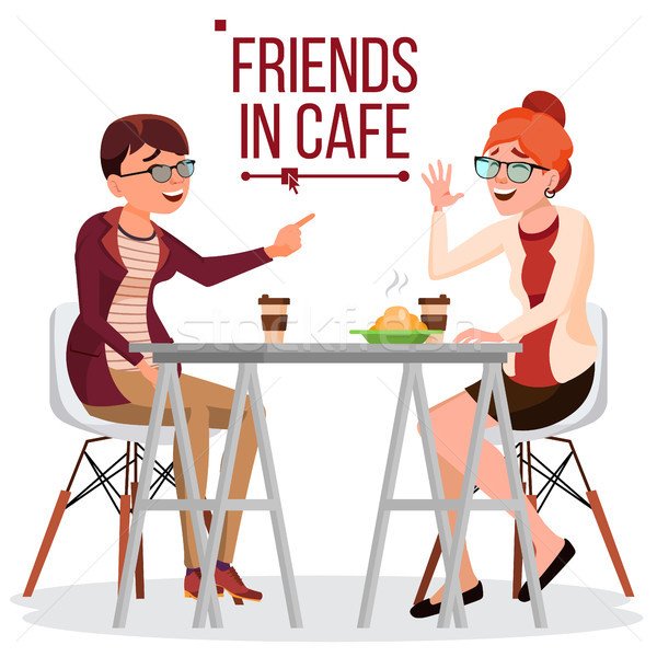 Stock photo: Friends In Cafe Vector. Two Woman. Drinking Coffee. Bistro, Cafeteria. Coffee Break Concept. Lifesty