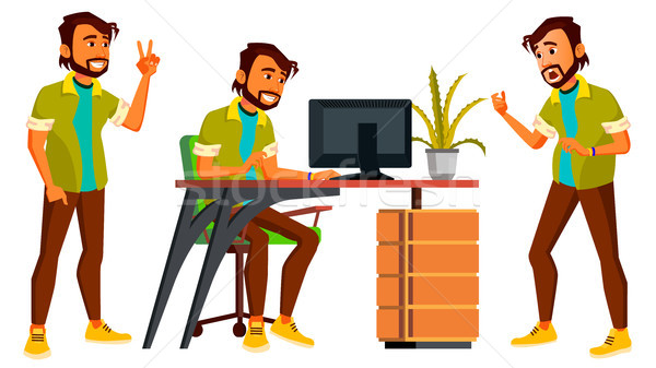 Office Indian Worker Vector. Emotions, Gestures. Set. Business Man. Professional Cabinet Workman, Of Stock photo © pikepicture