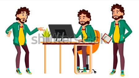 Office Worker Vector. Business Human. Poses. Smiling Manager, Servant, Workman, Officer. Flat Charac Stock photo © pikepicture