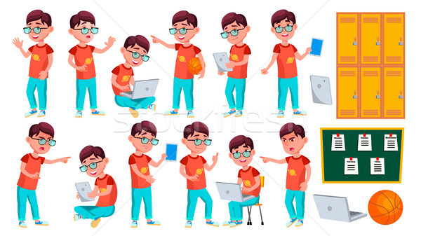 Stock photo: Boy Schoolboy Kid Poses Set Vector. Primary School Child. Schooler. Young People. University, Gradua