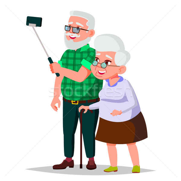 Elderly Couple Vector. Grandpa With Grandmother. Social Concept. Senior Couple. European. Isolated F Stock photo © pikepicture