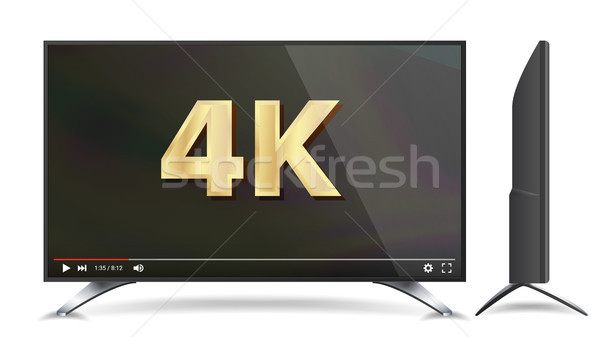 4k TV Vector Screen. Video Player. Modern LCD Digital Wide Television Plasma Concept. Isolated Illus Stock photo © pikepicture