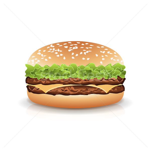 Fast food realistisch hamburger vector hamburger sandwich Stockfoto © pikepicture