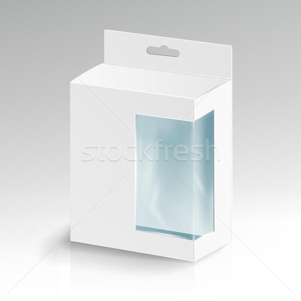 Zdjęcia stock: Biały · tektury · prostokąt · wektora · pakiet · polu