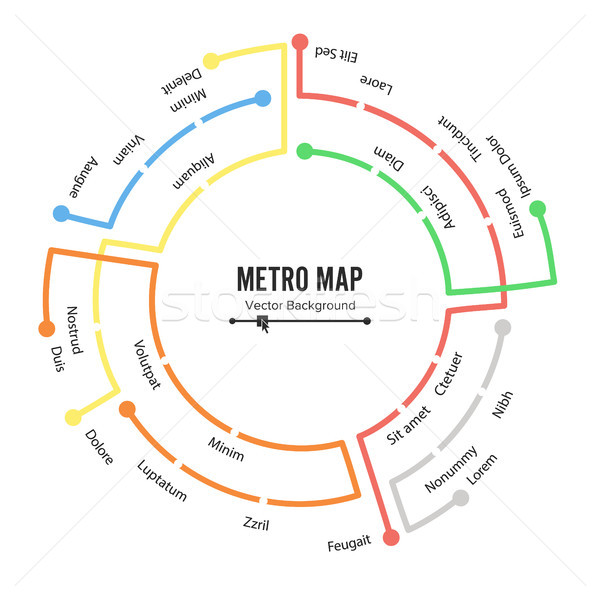 Metro Map Vector. Plan Map Station Metro And Underground Railway Metro Scheme Illustration. Colorful Stock photo © pikepicture