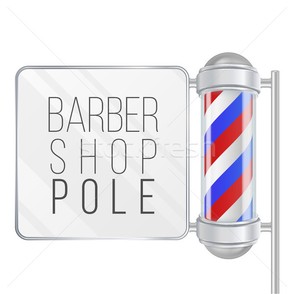 Barber Shop Pole Vector. 3D Classic Barber Shop Pole. Red, Blue, White Stripes. Isolated On White Il Stock photo © pikepicture