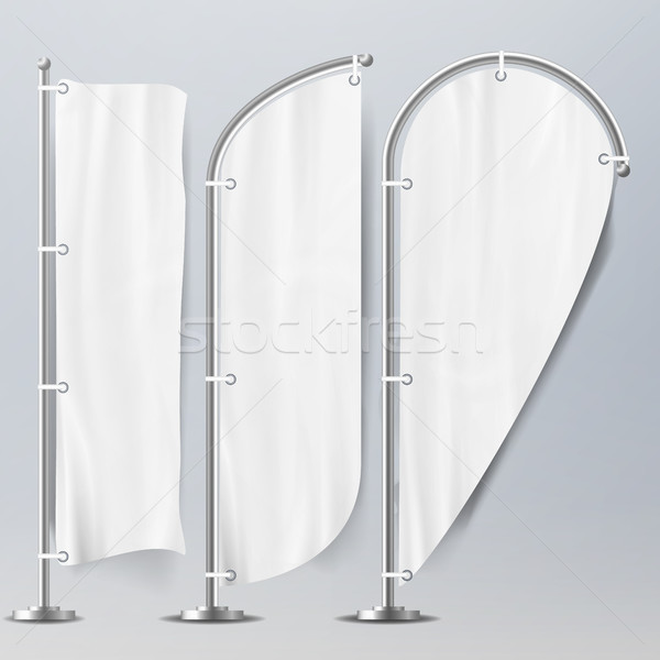 White Vector Flags Set On Blue Background. 3D Realistic Flags Illustration Stock photo © pikepicture