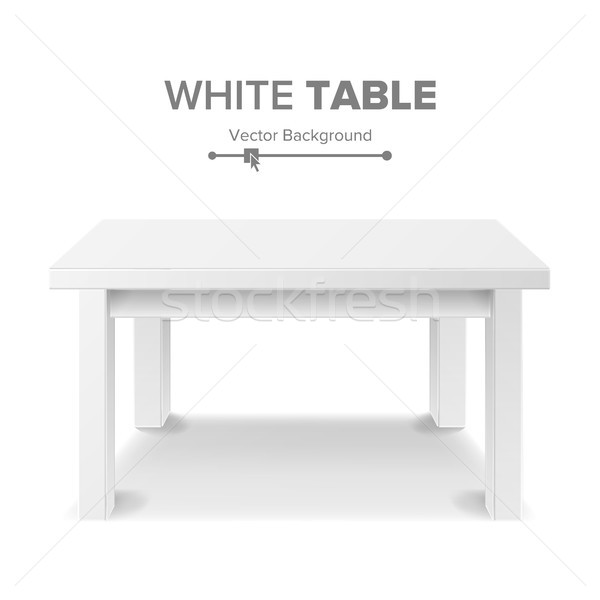 Empty White Plastic Table Isolated On White Background. Realistic Platform. Vector Illustration. Goo Stock photo © pikepicture