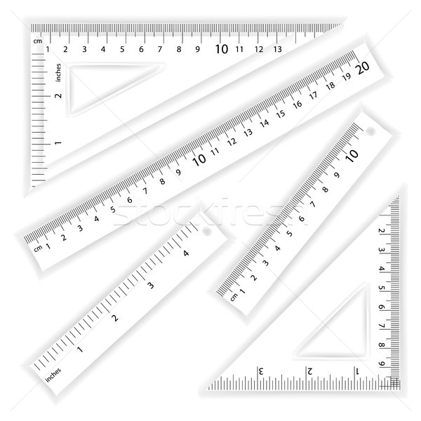 Ruler And Triangles Vector. Centimeter And Inch. Simple School Measurement Tool Equipment Illustrati Stock photo © pikepicture