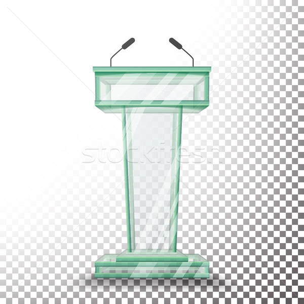 Transparent Glass Podium Tribune Vector. Rostrum Stand With Microphones. Isolated On Transparent Bac Stock photo © pikepicture