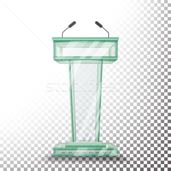Transparent verre podium vecteur stand isolé Photo stock © pikepicture