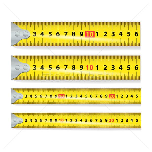 желтый рулетка вектора мера инструментом оборудование Сток-фото © pikepicture