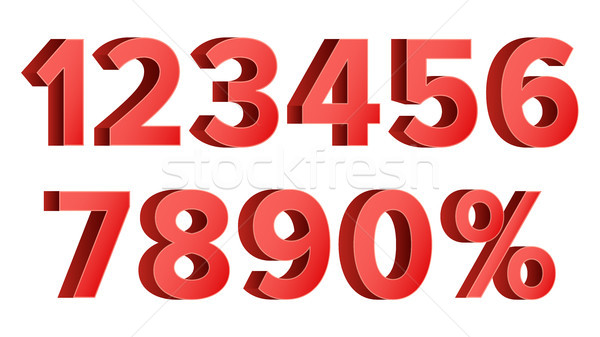 Red Discount Numbers Set Vector. Figures From 0 to 9. Sign Of Percent. Isolated Illustration Stock photo © pikepicture
