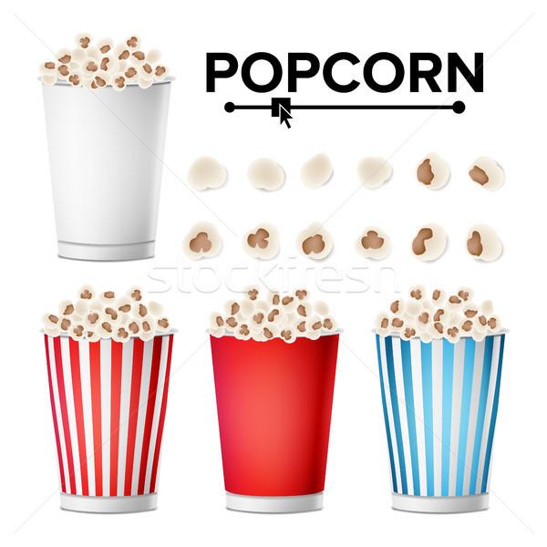 Popcorn Cup set vettore realistico classico Foto d'archivio © pikepicture