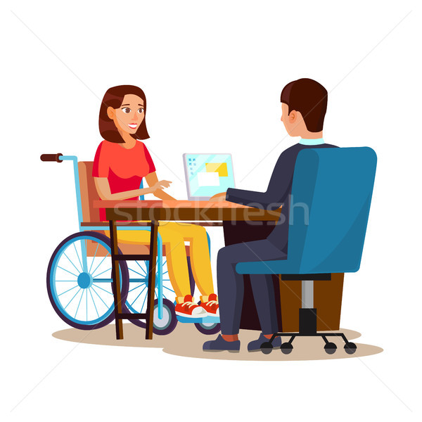 Disabled Woman Vector. Equal Opportunities Concept. leading Happy Life. Cartoon Character Illustrati Stock photo © pikepicture