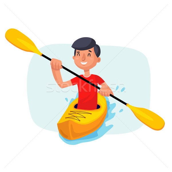Kayaking Paddling on Boats Vector. Having Fun. Paddle Oar. Sport, Outdoor Activities. Isolated On Wh Stock photo © pikepicture