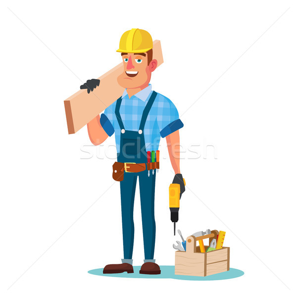 Construction Worker Building Timber Frame Vector. Classic Uniform And Helmet. Wooden Boards. Flat Ca Stock photo © pikepicture