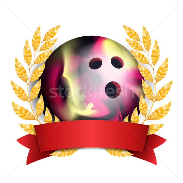 Bowing Award Vector. Sport Banner Background. Ball, Red Ribbon, Laurel Wreath. 3D Realistic Isolated Stock photo © pikepicture