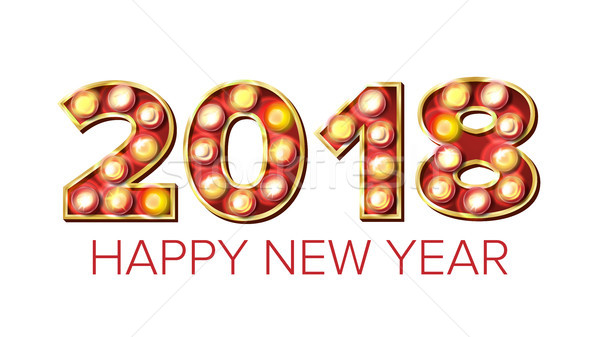 2018 Happy New Year Vector. Background Decoration. Greeting Card Design. 2018 Light Sign. Holiday Re Stock photo © pikepicture