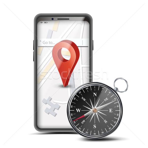 Foto d'archivio: GPS · app · vettore · mobile · mappa