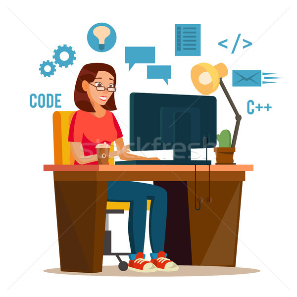 Programmer Woman Vector. Programmer Workspace. Working On Internet Using Laptop. Cartoon Character I Stock photo © pikepicture