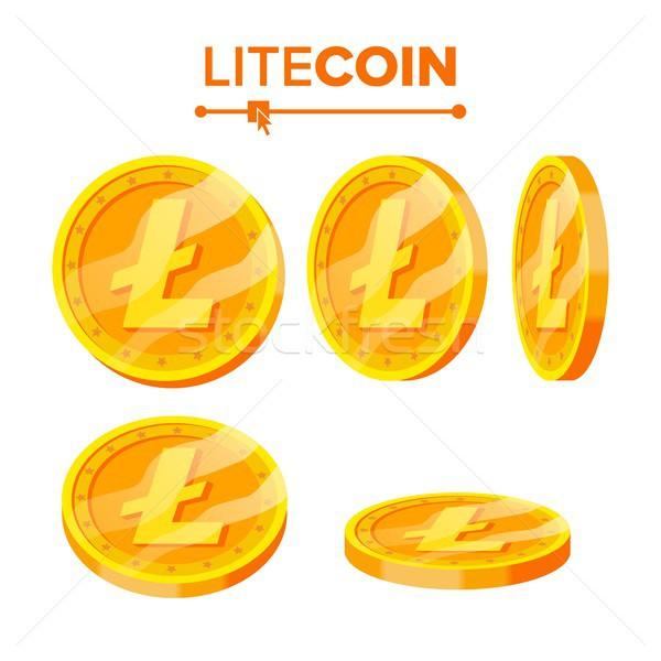 Arany érmék vektor szett különböző virtuális pénz Stock fotó © pikepicture