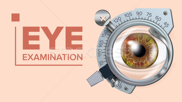 Eye Test Banner Vector. Correction Device. Optometrist Check. Test Illustration Stock photo © pikepicture