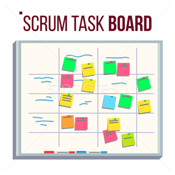 Planning Board Vector. Agile Board. Tasks For Team Development. Full Of Tasks. Flat Illustration Stock photo © pikepicture