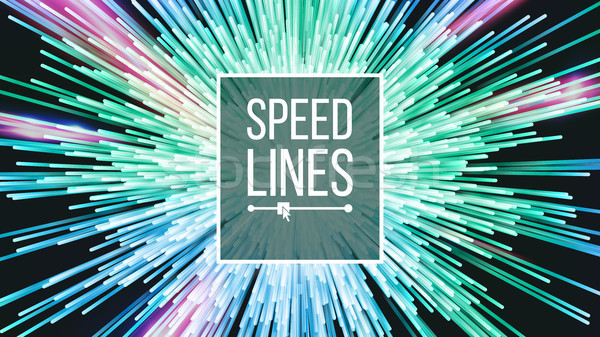 Speed Lines Vector. Power Effect. Beam Background. Radial Moving Colorful Neon Lines. Illustration Stock photo © pikepicture
