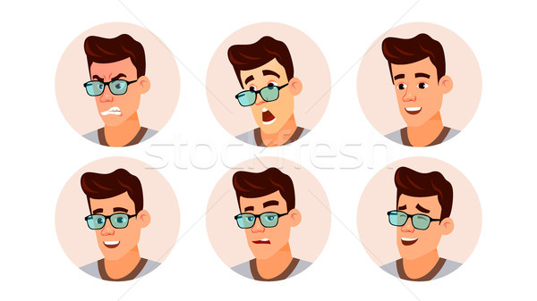 Avatar Man Vector. Human Emotions. Stylish Image. Flat Character Illustration Stock photo © pikepicture