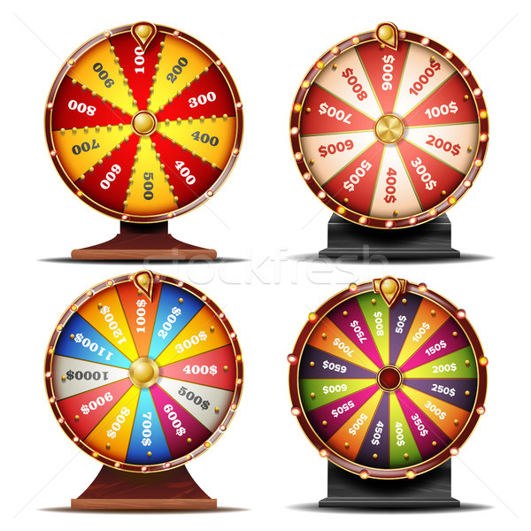 Wheel Of Fortune Set Vector. Gamble Chance Leisure. Win Fortune Roulette. Colorful Wheel. Spinning L Stock photo © pikepicture