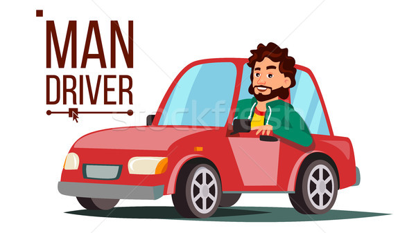 Man Driver Vector. Sitting In Modern Automobile. Buy A New Car. Driving School Concept. Happy Male M Stock photo © pikepicture