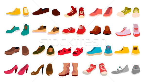 Stock photo: Footwear Set Vector. Stylish Shoes. For Man And Woman. Sandals. Different Seasons. Design Element. F